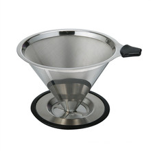 Hot Selling One Part Reasable Double Wall Stainless Steel Pour Over Coffee Dripper